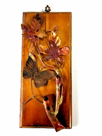 Vintage Copper Art On A Wooden Plaque