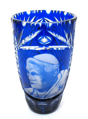Hand Cut Crystal Vase with the Pope's Image