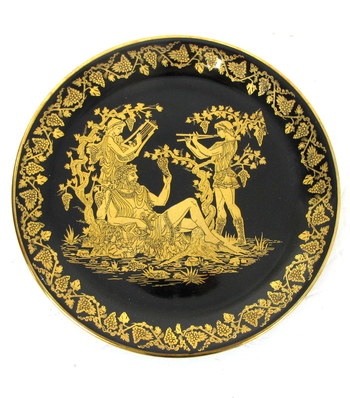 Authentic Greek Hanging Plate decorated with 24 K Gold