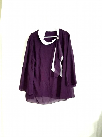 Ladies Purple Long Sleeve Blouse Size 2XL