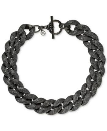 MICHAEL KORS MKJ3660001 Black Pavé Curb Chunky Chain Link Toggle Ladies Necklace Retail $278