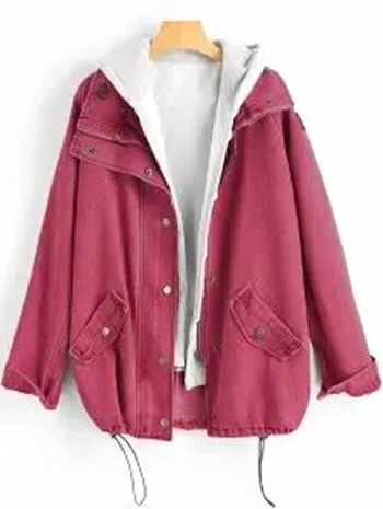 NWT Button Up Denim Jacket And Hooded Vest Cherry Red Size L