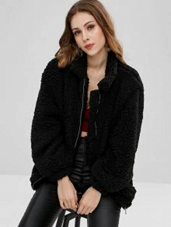 NWT Slip Pockets Faux Fur Teddy Coat Black Size S