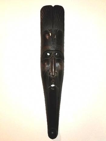 "40"" Long Vintage Hand Carved Wooden African Tribal Mask"