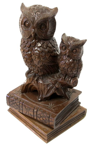 Vintage Wooden Sculpture of an Owl and an Owlet on top of Two Books