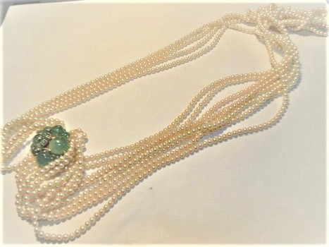 Ladies Pearl Diamond, Emerald Choker Necklace - Value $6,155.00