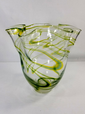 VTG Handkerchief Bohemia Art Deco Crystal Glass Vase