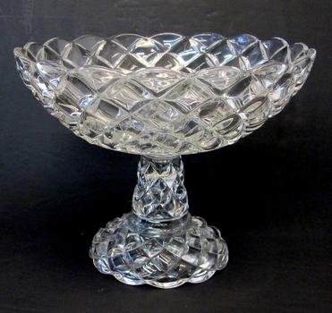 Vintage Molded Crystal Pedestal Fruit Bowl