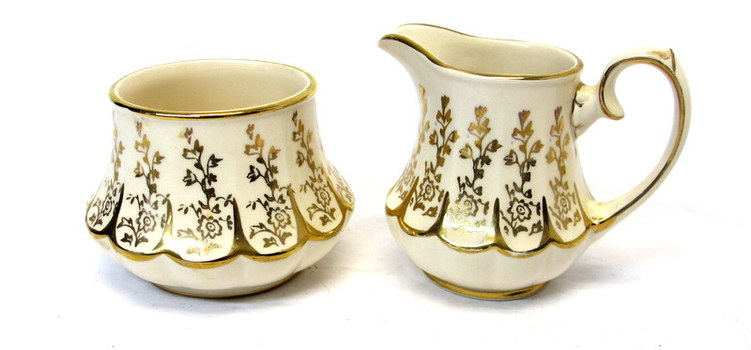 Porcelain Sugar and Creamer Set made in England