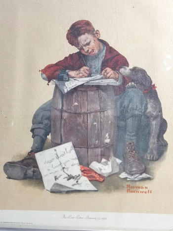 "1973 Litho NORMAN ROCKWELL ""The Love Letter - January 17, 1920"""