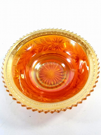 Vintage Marigold Imperial Small Round Bowl Carnival Glass