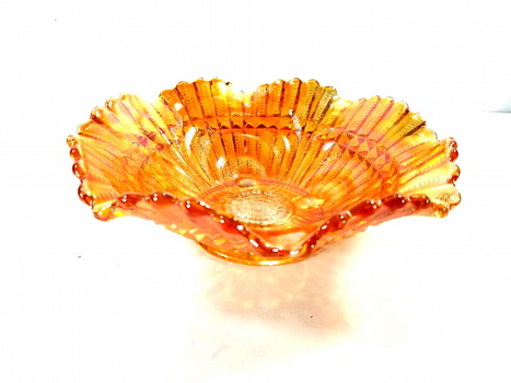 Imperial Glass Marigold Scroll Embossed Carnival Glass Large Bowl