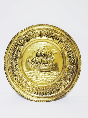 BRASS PLAQUE PLATE WALL HANGING NAUTICAL GALLEON SHIP -ENGLAND