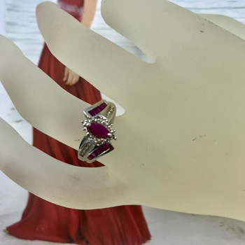 Designer Jewelry  Liquidation From Major Department Store  Sterling Silver Ruby Stone Ring Size 6 Retail $300