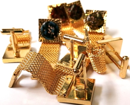 CUFFLINK - 4 PAIRS GOLD PLATED CUFFLINK WITH MESH CHAIN