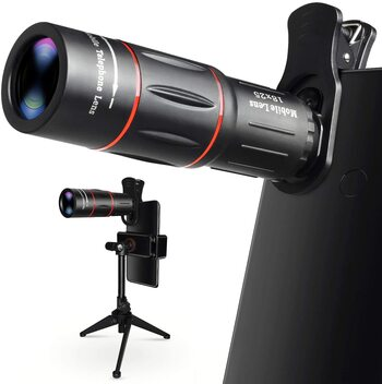 Cell Phone Camera Lens, 18X Zoom Telephoto Lens with Tripod, HD Smartphone Lens for iPhone, Samsung, Android, Monocular Telescope