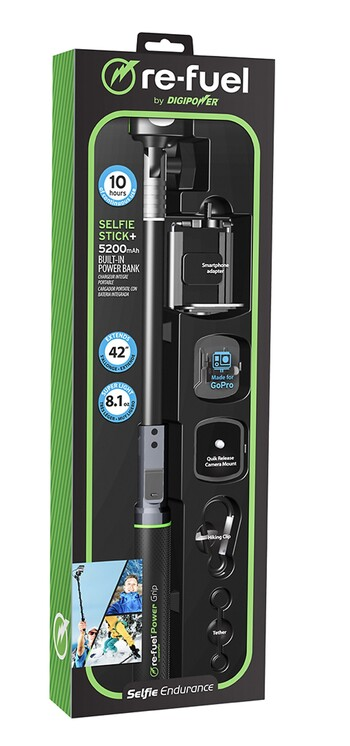 Re-fuel by Digipower selfie stick Built In Power Bank, $65.00
