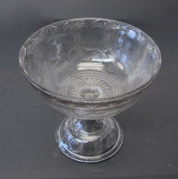 Vintage Smokey Pressed Glass Pedestal Fruit Bowl