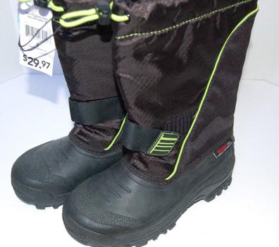 Drawstring Winter Boots Black Yellow Boys Size 3