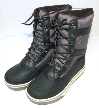 Boys Snow Boots Black Grey Size 3