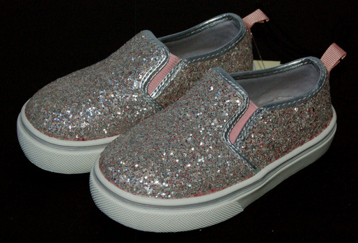 Girls' Glitter Sneakers Silver Pink Size 6