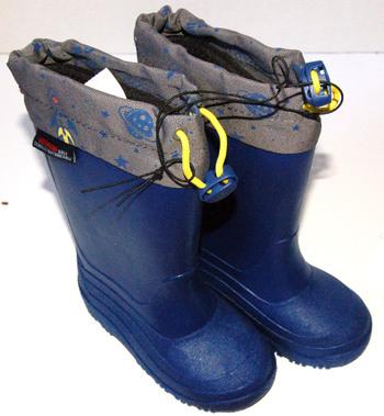 Boys' Drawstring Rain Boots Blue Size 8