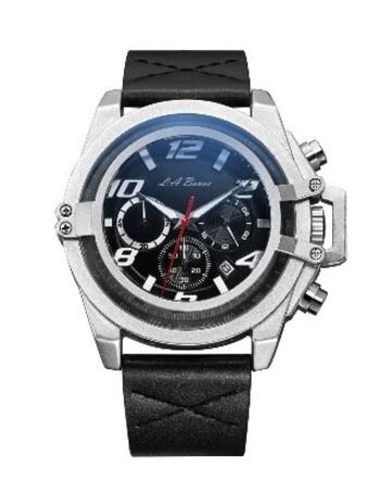 LA Banus Caged Crown Guard Chrono Watch, Leather Strap.m Retail $585.00