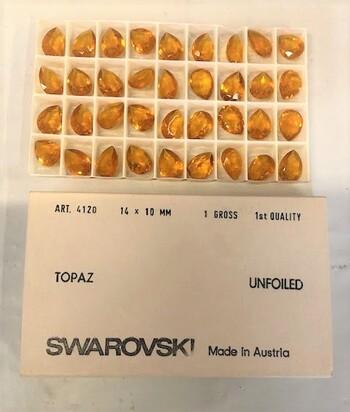 Swarovski Topaz Crystals Austria 1970's 36 Pieces