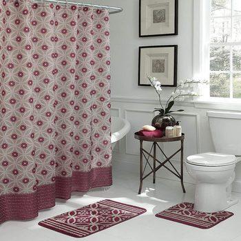 Bath Fusion Hartford Geometric 15-Piece Bath Set, Barn Red/Linen