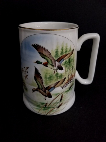 Vintage Saji Japan Fine China Coffee Mug - Geese In Flight
