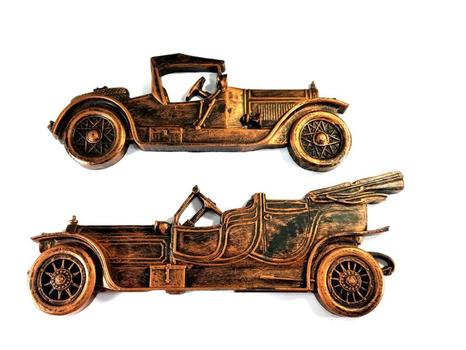 Two Copper Cars wall Decor Antiqued Copper Tone Distressed Ornate Wall Art