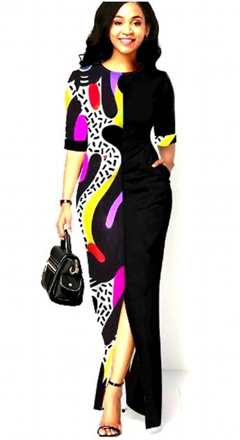 Printed Round Neck Half Sleeve Ladies Maxi Dress Black Size 10