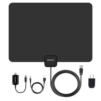 50 Mile Flat Indoor Amplified HD TV Antenna