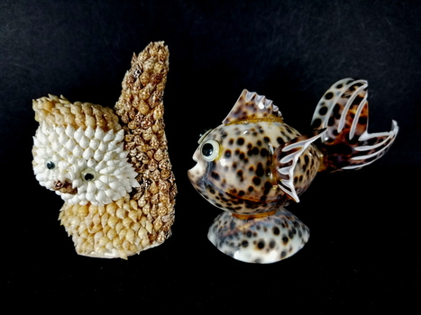 Hand Made Sea Shell Animals - Cat and a Fish