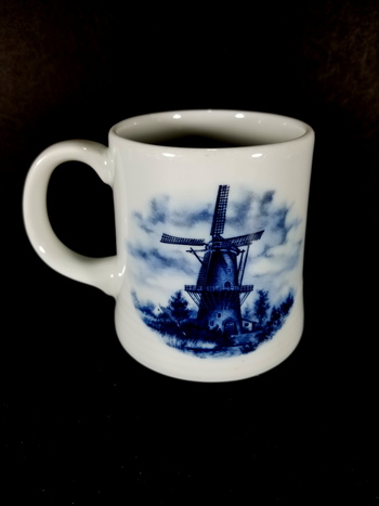 2 Vintage Delft Blue Windmill Hand Painted Coffee Tea Mug Cup Holland