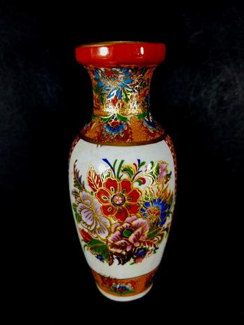 Hand Made And Painted Satsuma Style Porcelain Vase