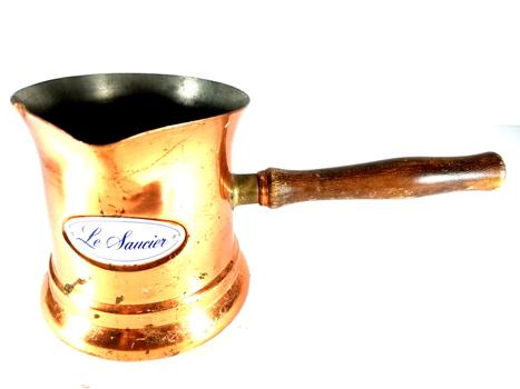 Vtg Le Saucier Copper Warmer Sauce Pot Pan 1984 Teleflora Wooden Handle