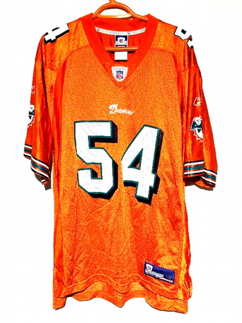 Miami Dolphins Reebok NFL Z. Thomas 54 Football Jersey Shirt in Orange Size M
