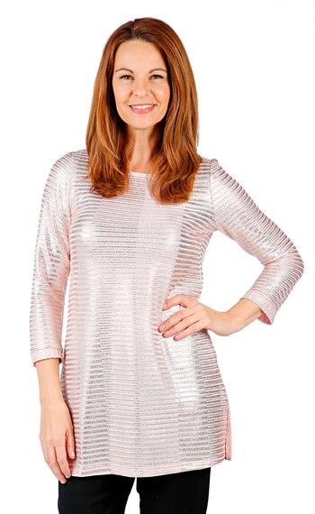 Mr. Max Fashions Women's Foil Printed Rib Knit Top, Pink, Size L, Retail: $21.00