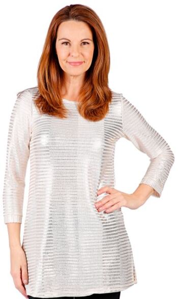 Mr. Max Fashions Women's Foil Printed Rib Knit Top, Ivory, Size S, Retail: $21.00