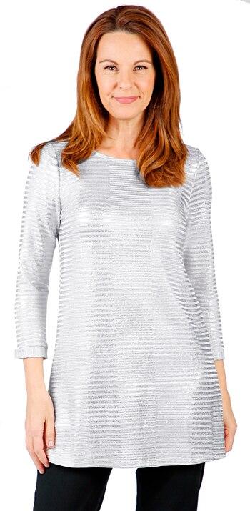 Mr. Max Fashions Women's Foil Printed Rib Knit Top, Grey, Size 2X, Retail: $21.00