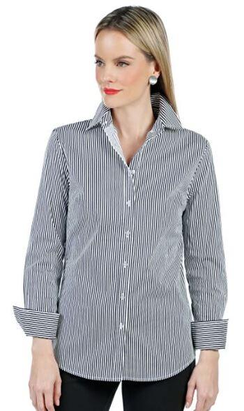 Guillaume Women's Button Down Classic Shirt, White/Grey Stripe, Size 4, Retail $20.62