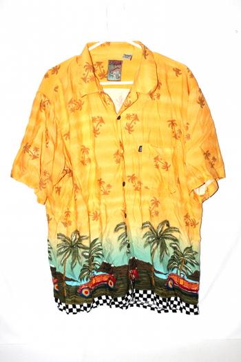 Pineapple Connection Mens Button Short Sleeve Shirt Down L Tropical Hawaiian
