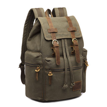 Vintage Retro Canvas Backpack Travel Sport Rucksack Satchel Hiking School Bag - Army Green