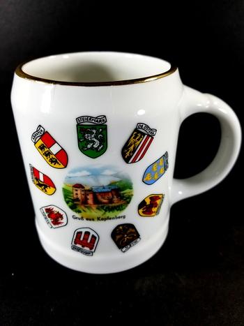 VTG Austrian Porcelain Stoneware Beer Mug With Handle