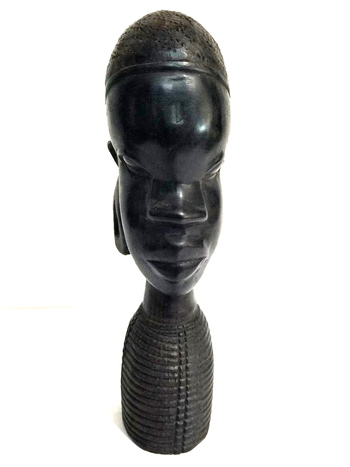 African Ebony Wood Tribal Carving Sculpture Bust