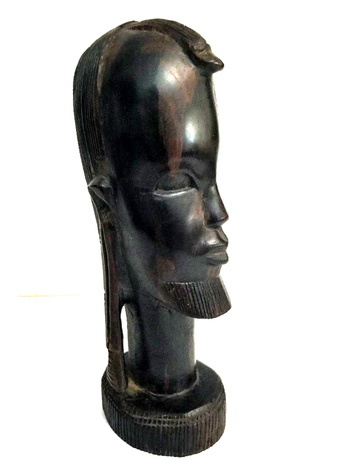 Vintage African Ebony Wood Tribal Carving Sculpture Bust