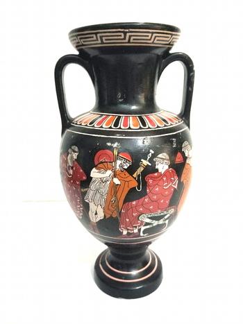 Large Vintage Hand Painted Greek Pottery Vase - Signed