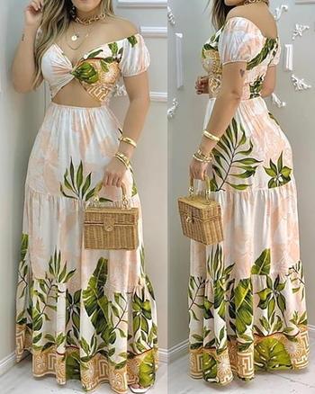 Tropical Print Hollwo Out Design Off Shoulder V Neck Maxi Dress Size S