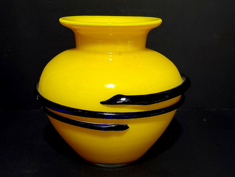Bohemia Deco Art Glass Yellow & Cobalt Blue Vase